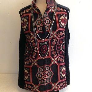 NWOT Boho Chenille Tapestry Quilted Side Vest
